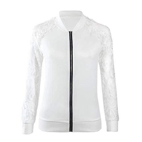Fiesta Hueco Primavera Blanco Chaqueta Jacket Mujer Cazadoras Elegante Encaje Cremallera Outdoor Otoño Especial Outerwear Vintage Abrigos Splice Estilo Moda con x40q1AwX