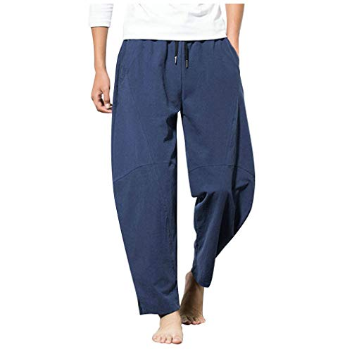 (Men's Pants Casual Cotton Linen Drawstring Breathable Loose Jogger Straight-Leg Trouser with Pockets Blue)
