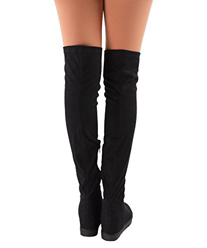 RF ROOM OF MODE Frauen Vegan Wildleder Versteckte Plattform Keil Runde Zehe Slip On Overknee Boots Schwarz