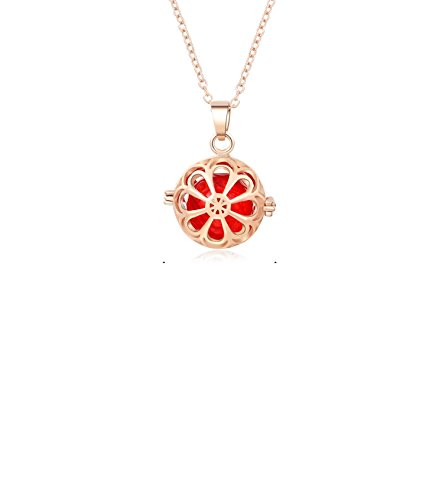 Lemon Pattern Aroma Essential Oil Diffuser Necklace Locket Pendant Gift Set, 0.59 inch Red Pefume Bottle Necklace With 18.5