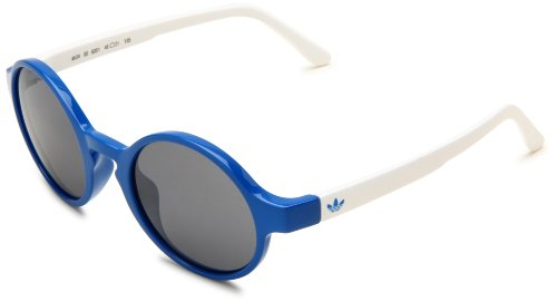 adidas Jonbee Ah34-6051 Round Sunglasses,Originals Blue White Frame/Grey Silver Mirror Lens,One - Sunglasses Ah
