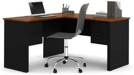 amazon com bestar somerville l shaped desk black and tuscany brown rh amazon com