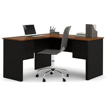 Amazon Com Bestar Somerville L Shaped Desk Black And