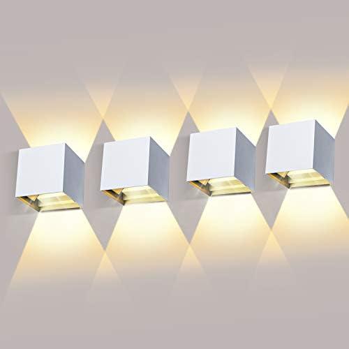 chollos oferta descuentos barato 4 Piezas Aplique de Pared Exterior LED 12W Aplique de Pared Ángulo de Haz Ajustable 2700K 3000K Blanco Cálido Aplique Exterior Impermeable IP65 Aplique led Blanco