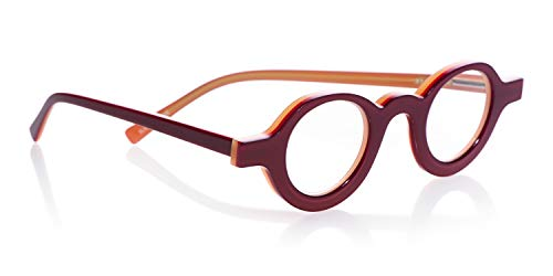 eyebobs Luna C Unisex Premium Readers, Red Outside with Yellow Inside, 1.50 ()