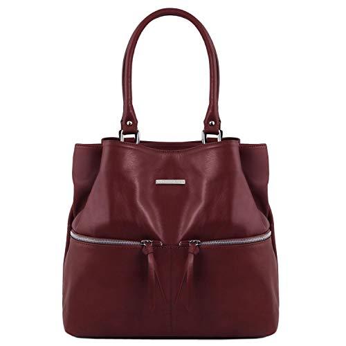 Tuscany Leather TLBag Borsa a spalla in pelle con tasche frontali - TL141722 (Nero) Bordeaux