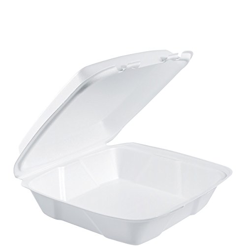 Dart 90HT1R Lg Foam Hinged Container, 9 in (Case of 200)