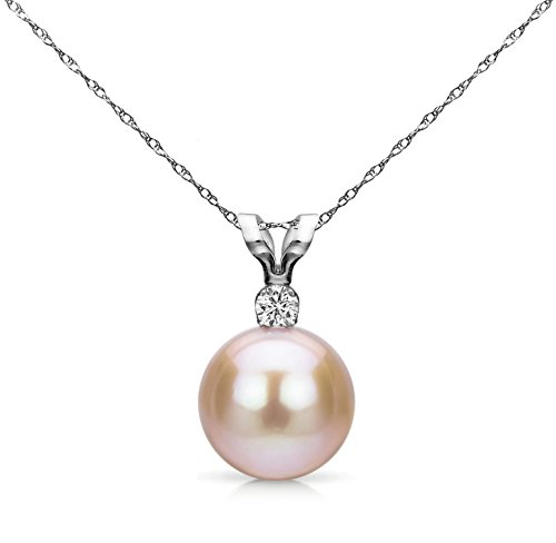 Gold Diamond Pink Pearl Pendant (14K White Gold Chain Diamond Pendant Cultured Freshwater Pink Pearl Necklace for Teen Girls 1/100 CTTW)