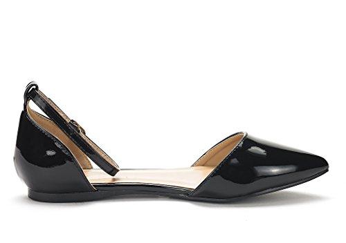Droom Paren Dames Flapointed-nieuwe Dorsay Balletschoenen Schoenen Zwart