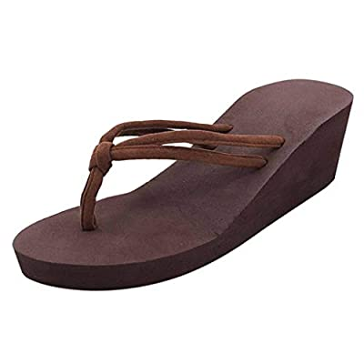 HIRIRI Women's Wedge Flip Flop Solid Color Non-Slip High Heeled Beach Chunky Platform Strappy Sandals: Clothing