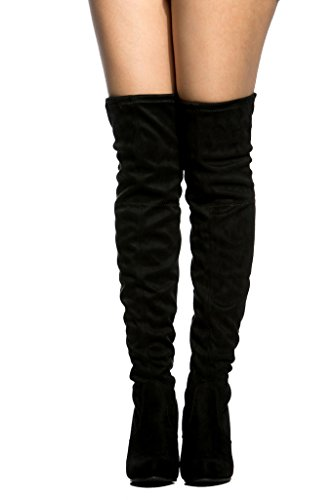Wild Diva Amaya-01 Womens Thigh High Over The Knee Boots,Black Suede,6 by LUSTHAVE (Image #2)