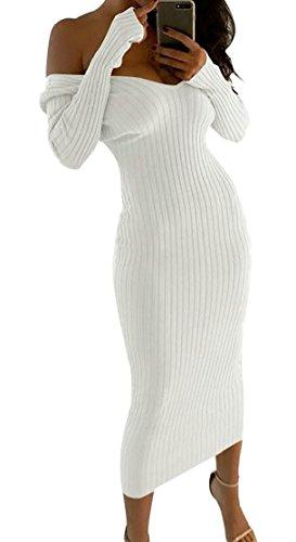 M&S&W Knit Rib Sweater DressWomen's Sexy Off Shoulder Knit Bodycon Maxi Dress White M -