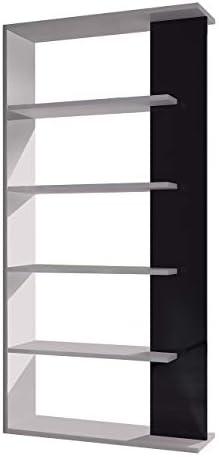 Habitdesign 1T2251BO acabado blanco brillo y negro brillo medidas 145 x 145 x 30 cm Estanteria Zig Zag