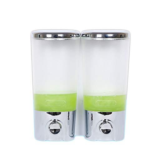 HUANGDA HD Wall-Mounted Soap Shampoo Bathroom Shower Single Twin Duo Chrome Dispenser Touch Dispenser Liquid Container(400 ml/Chrome) soap Dispenser (Size : Double Head)