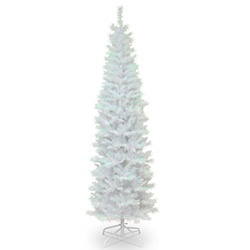 National Tree 6 Foot White Iridescent Tinsel Tree with Metal Stand - White Christmas Trees Decorated