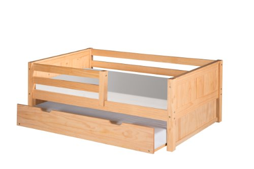 Camaflexi Panel Style Solid Wood Day Bed with Trundle and Front Rail Guard, Twin, Natural