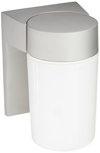 Cheap Nuvo Lighting SF77/136 Utility Fixture Die Cast Aluminum Durable Outdoor Wall Mount Porch and Patio Light with White Glass Cylinder, Satin Aluminum