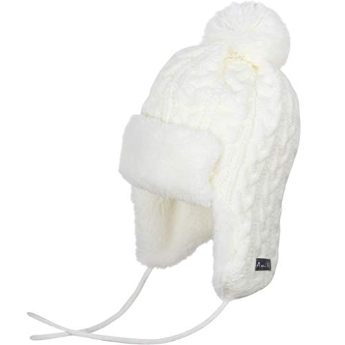 Ami&Li Infant Baby Boys Girls Kids Ultra Comfortable Knit Winter Trapper Hat with Cute Fuzzy Ball Creamy White