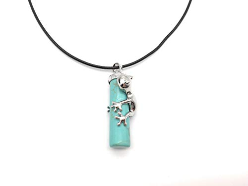 xinpeng Frog Cylinder Natural Stone Gemstone Necklace Reiki Chakra Healing Crystals Animal Charm Pendant for Women Men 18 inch Chain (Blue Turquoise) ()