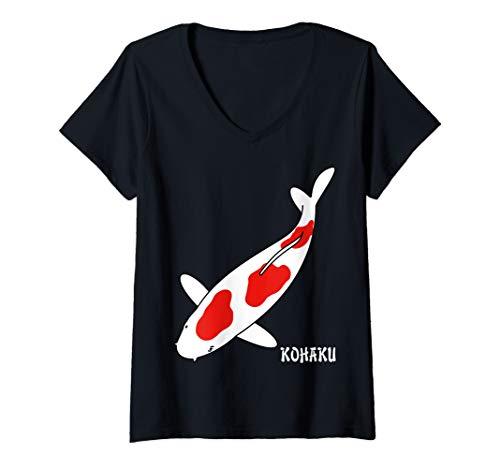 Womens Koi Carp Nishikigoi Collector Gift Kohaku V-Neck T-Shirt