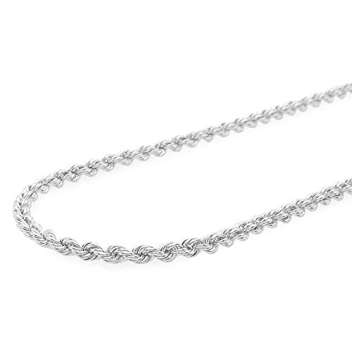 Verona Jewelers Sterling Silver 4MM Italian Diamond-Cut Rope Chain Necklace for Men - 925 Braided Twist Italian Necklace, (28)