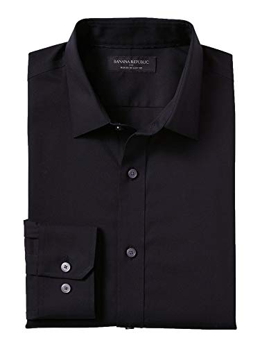 Banana Reublic Mens Slim-Fit Non-Iron Black Shirt, Black (L) from Banana Republic