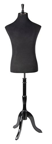Male Mannequin Torso - Mannequin Body Stand for Clothing Display, Room Decor, and Store Window Extra Tall with Wooden Tripod, Black, Height up to 84 inches