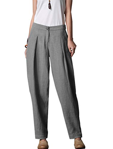 (Minibee Women's Casual Linen Pants Elastic Waist Tapered Pants Trousers With Pockets Gray L)