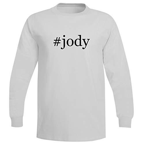 The Town Butler #Jody - A Soft & Comfortable Hashtag Men's Long Sleeve T-Shirt, White, - Vac Ray Bottom