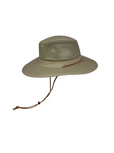 Elysiumland Unisex Safari Sun Bucket Hat with A Montana Crease and Breathable Mesh Crown - Dawstring - 100% Quik-Dry Nylon - 50 UPF-UV Sun Protection - Large/X-Large (Khaki) ()