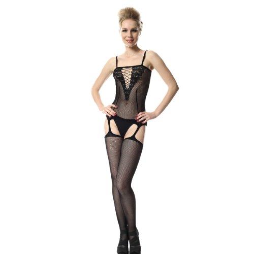 Spotlight Hosiery Women's One piece Garter Body Stocking with Criss Cross Front