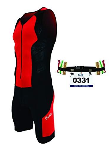 Kona II Men's Triathlon Suit - Sleeveless Speedsuit Skinsuit Trisuit with Storage Pocket and Bonus Race Bib Belt (Red/Black, ()
