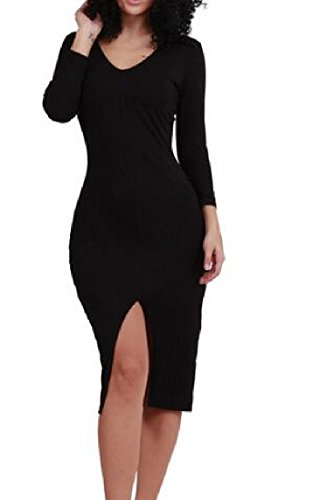 Coolred Pencil Long Black Crewneck Sleeve Solid Dress Split Sheath Women rBnxr