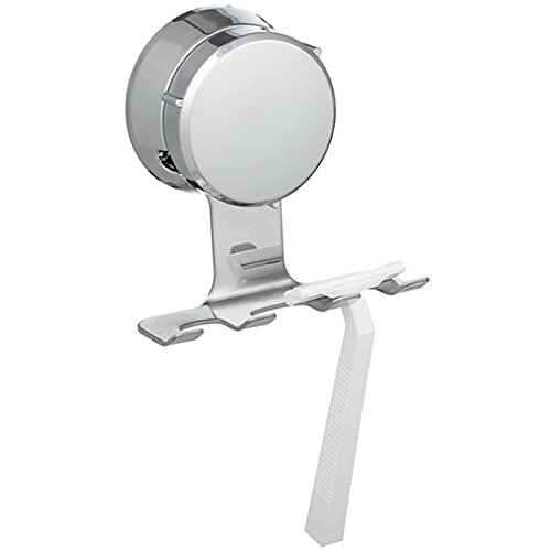 (HOME SO Razor Holder with Suction Cup Hanger - Antibacterial Bathroom Organizer Holds up to 3 Razors Shavers - Stainless Steel Chrome - Removable Reusable Stick on Bathroom Mirror or in Shower)