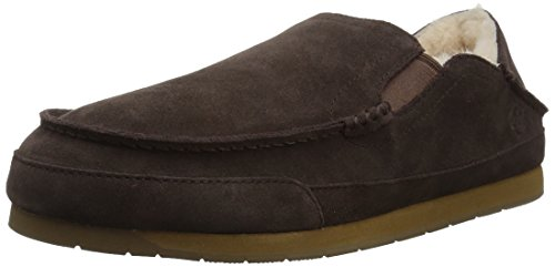 206 Collective Mens Bower Collapsible Back Shearling Moccasin Slipper Chocolate Suede