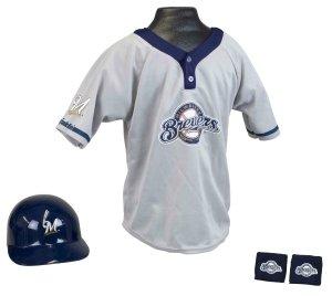 Milwaukee Brewers Baseball Helmet and Jersey Set