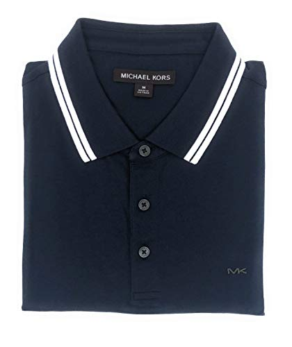Michael Kors Mens Pima Soft Touch Classic Fit Polo Shirt Short Sleeve Pique (Navy, Medium)