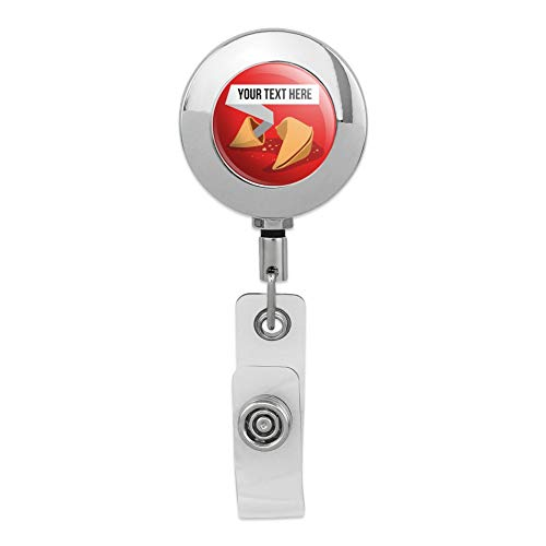 Personalized Custom Fortune Cookie Retractable Reel Premium Metal Chrome Badge ID Card Holder - Cookie Card Fortune