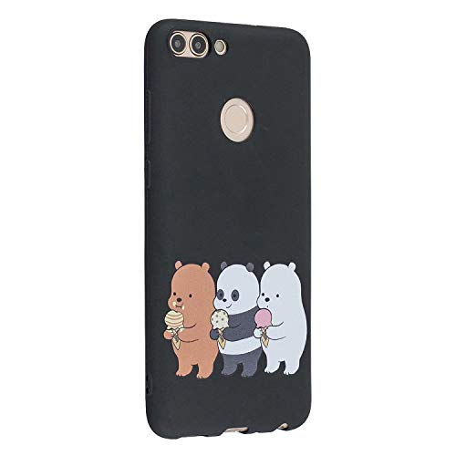 Miagon for Huawei P Smart Case,Thin Soft Silicone Ultra Slim Fit Matte Finish Flexible Protective Shell Anti-scratch Bumper TPU Cover,Funny Bear