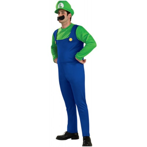 Luigi Adult Costumes Hat And Mustache (Super Mario Brothers Luigi Costume Medium, Blue/Green)
