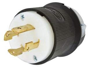 (Hubbell HBL2731 Locking Plug, 30 amp, 3 Phase, 480V, L16-30P, Black and White )