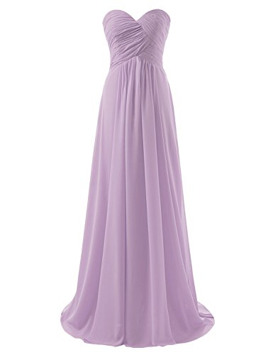 Sarahbridal Womens A-Line Chiffon Bridesmaid Dress Strapless Long Prom Evening Gown Lilac (Strapless A-line Bridesmaid Gown)