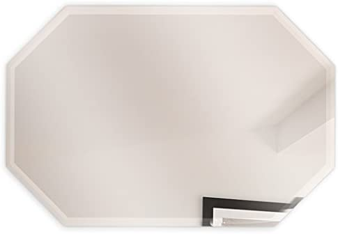 Fab Glass and Mirror Octagon Frameless Wall Mirror Bevel Polish with 3 Hooks, 20 x 30 , Clear