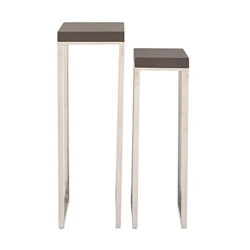 Studio 350 Wood Ss Leather Pedestal Set of 2, 34 inches, 39 inches high