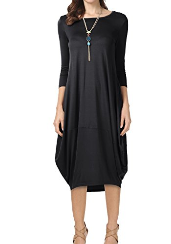 3/4 sleeve black sweater dress - 6