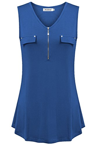 Ninedaily Tunic Tank Top for Women, Plain Blouse for Women for Work Office Business Casual V Neck Henley Summer Casual XXL Tunic Shirt Royal Blue by Ninedaily (Image #1)