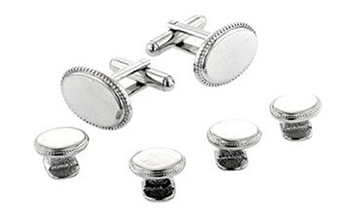 JJ Weston silver plated set of beaded edge cufflinks and shirt studs. Made in the U.S.A by JJ Weston