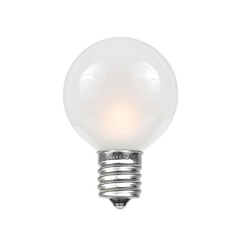 Novelty Lights 25 Pack G30 Outdoor Globe Replacement Bulbs, Frosted White, C7/E12 Candelabra Base, 5 Watt