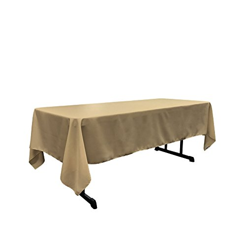 LA Linen Polyester Poplin Rectangular Tablecloth, 60 by 120-