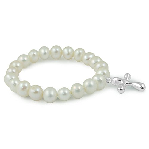 Charm Freshwater Pearl Bracelet Cultured (Toddler & Child Jewelry - 6 Inches 6mm Freshwater Cultured Pearl Cross Charm Bracelet)